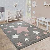 Paco Home Alfombra Habitación Infantil Estrellas Grandes Y Pequeñas En Gris Y Rosa, tamaño:80x150...