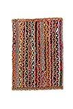 Alfombra de Yute rectangular Multicolor Mexi, alfombra natural de fibra de yute y algodón tejida a...