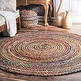 Alfombra de yute de comercio justo hecha a mano, multicolor, india, reciclada, algodón, natural, 60...