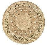 HAMID Alfombra Yute Alhambra Nazarí Color Natural Redonda - Alfombra 100% Fibra de Yute - Diseño...
